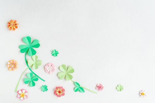 Paper craft four-leaf clover and flower frame