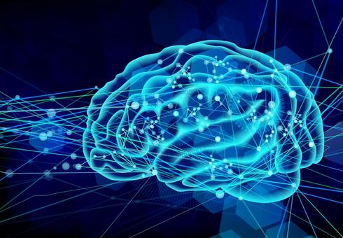 State of brain transmission-blue background