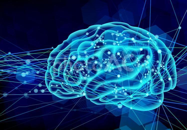 脳の伝達の様子-青背景の写真