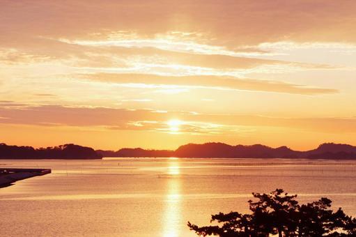 Sky Asahi Sunrise Sunrise Orange Matsushima View