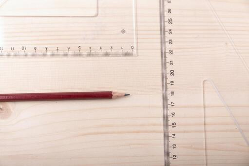 Pencil and triangular ruler