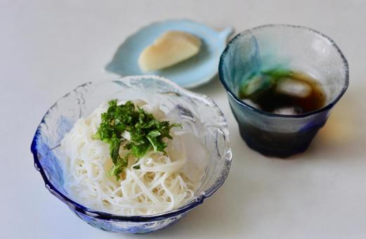 Somen noodles in a glass bowl