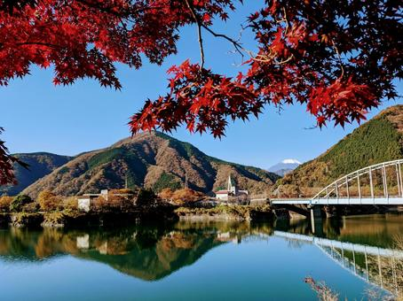 Maple with bright red leaves, Lake Tanzawa and Mt. Fuji