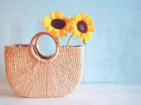 Sunflower and basket bag (light blue background)
