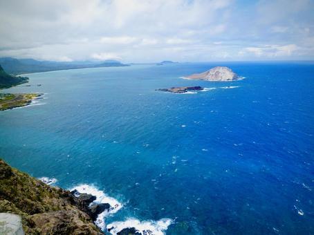 瓦胡島夏威夷藍色海洋和島嶼