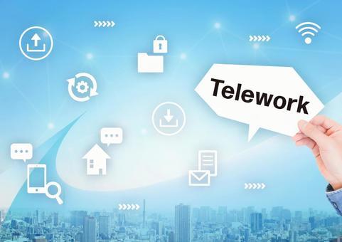 Bright cityscape and telework