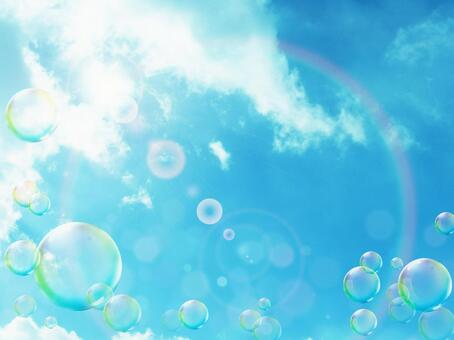 Blue sky and soap bubble