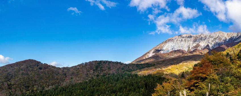 돗토리 鍵掛峠에서 대산를 전망 파노라마