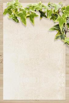 Wood grain and Japanese paper texture and plant background vertical position material