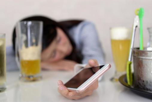 Woman sleeping drunk