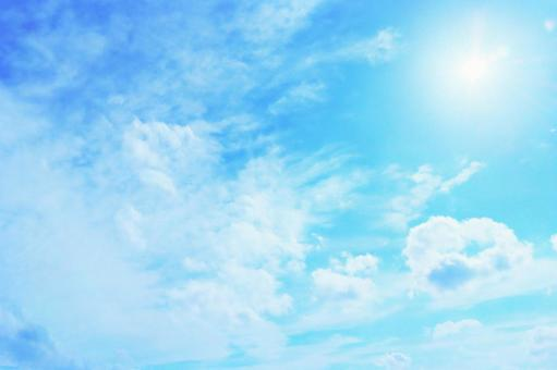 Sky background with beautiful blue sky clouds and sun sunshine Wallpaper Light blue White Glitter Shine Sunshine Bright Beautiful Refreshing refreshing Clouds Glitter