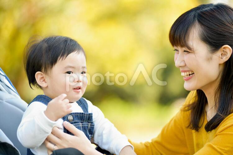 散歩をする親子の写真