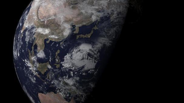 일본 열도에 태풍이 다가온다 우주에서 본 지구의 이미지