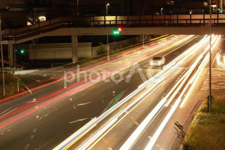 国道にて光芒の写真