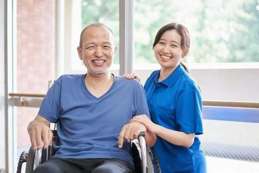 Wheelchair-riding elderly and caregivers