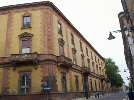 Streets of Bologna Building with ornamental window