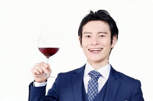Hotel man with wine glass