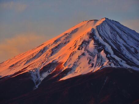 Red Fuji seen from Lake Kawaguchi