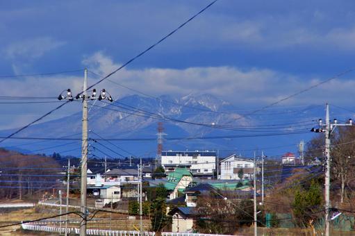 Mount Tsukuba over the electric wire
