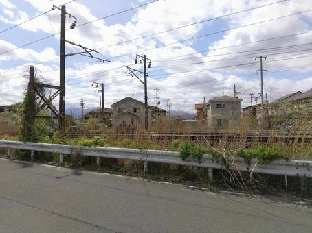 도호쿠 본선 후쿠시마시 御山 주택이있는 풍경
