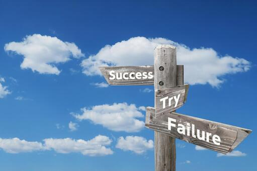 Wooden signpost and blue sky for business success / failure / challenge