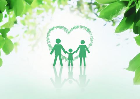 Family surrounded by greenery