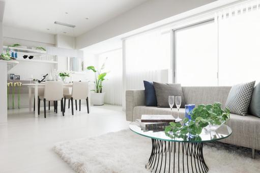 Spacious living-dining room with white interior