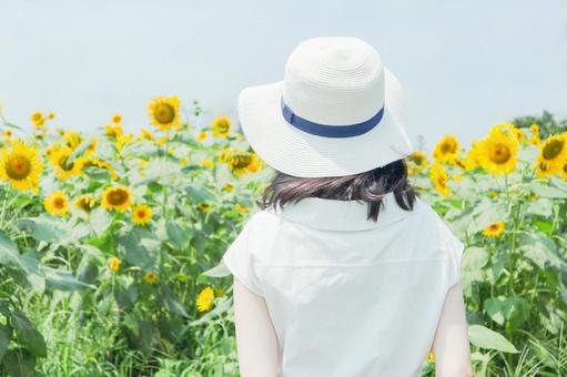 Sunflower and black-haired woman ②