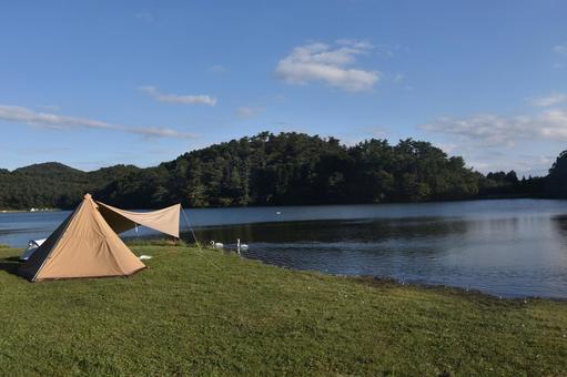 Lake Shidaka solo camp scenery