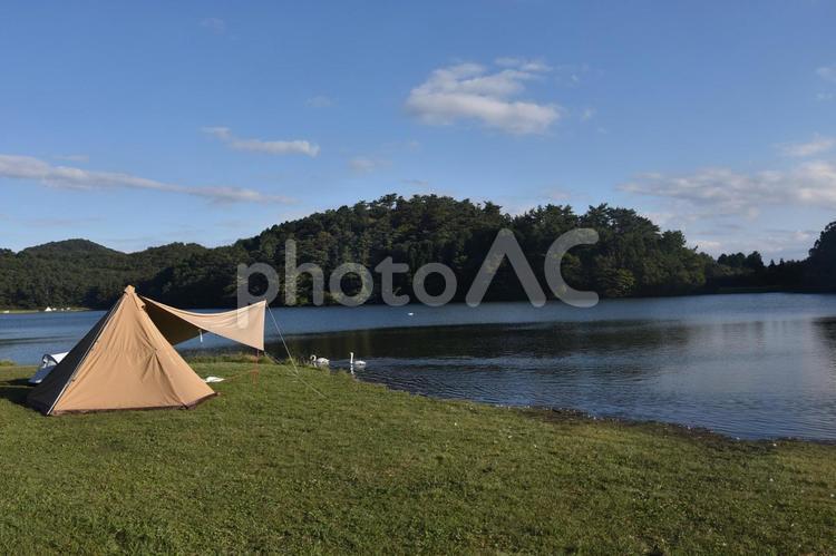 志高湖ソロキャンプ風景の写真