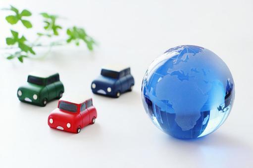 Earth globe car ecology