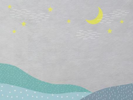 Japanese paper of night sky, moon and mountain scenery_Turquoise modern Japanese pattern texture_Background material
