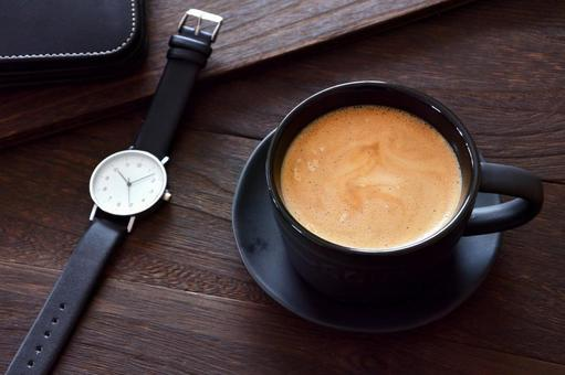 Analog clock and hot coffee