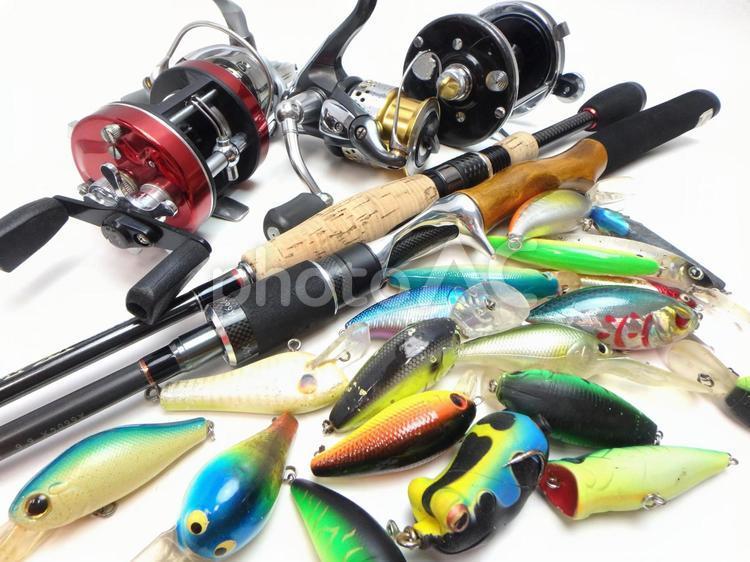 ルアーやリール等の釣り具のイメージ画像の写真