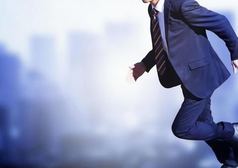 Running businessman
