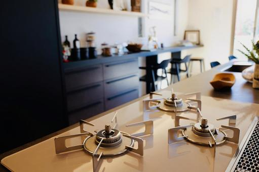 Bright kitchen with 3 stoves