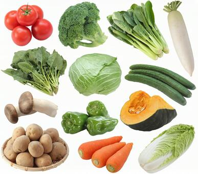 Set of vegetables (PSD with background transmission / cut-out pass)
