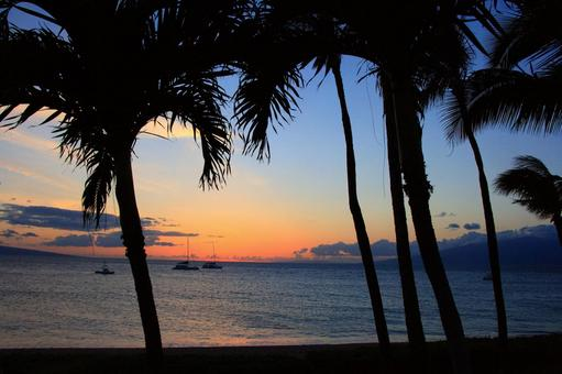 Dusk of the beach in Hawaii