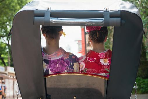Women's Yukata rode rickshaw women Foreign tourists 22
