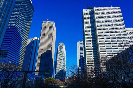 Skyscrapers in Nishi-Shinjuku against the backdrop of the blue sky