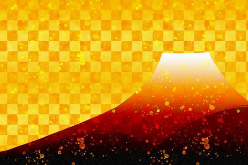 Red Fuji Celebration background that can be used for New Year's cards Checkered pattern Gold Mt. Fuji
