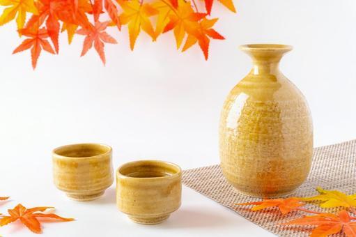 Sake and autumn leaves
