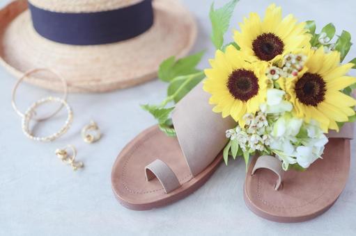 Sunflower bouquet and summer accessories