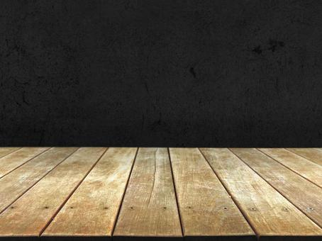 Wood grain wood deck and black background material