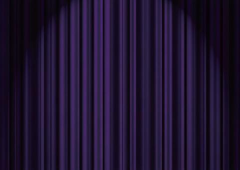 Purple stage curtain with spotlight
