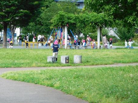 Nursery school children playing in the park