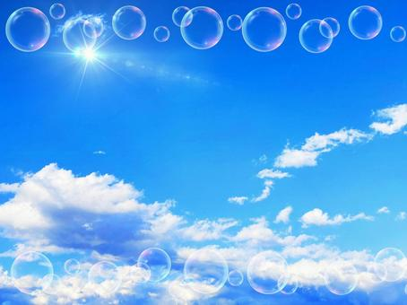 Refreshing blue sky and bubble background material_a_05