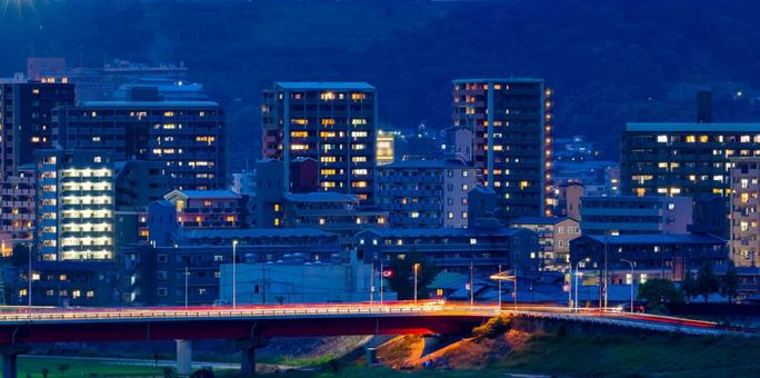 Night view of a residential area