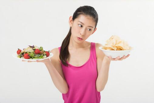 Women with salads and snacks 2
