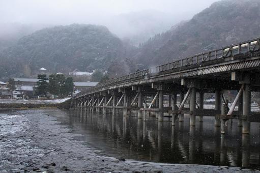 Togetsu Bridge in winter